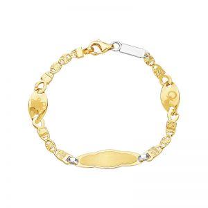 14k Yellow Gold Newborn Baby ID Bracelet