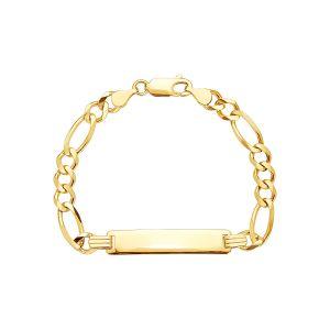14k Yellow Gold 5mm Figaro Baby ID Bracelet