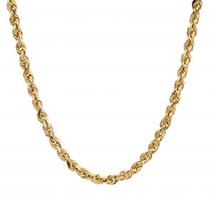 Mens 14k Yellow Gold 24 Inch Solid Rope Chain