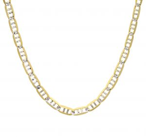14k Yellow Gold 2.35 mm 18 Inch Pave Mariner Chain