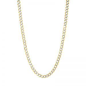 14k Yellow Gold 6 mm 24 Inch Pave Curb Chain