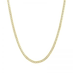 14k Yellow Gold 22 Inch Curb Pave Chain