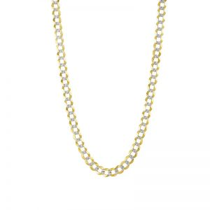 14k Yellow Gold 8 mm 26 Inch Pave Curb Chain