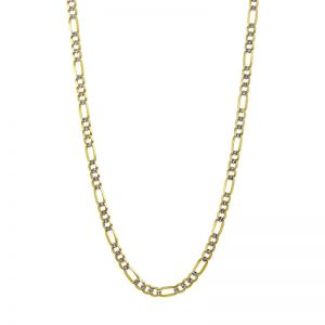 14k Yellow Gold 5 mm 26 Inch Pave Figaro Chain
