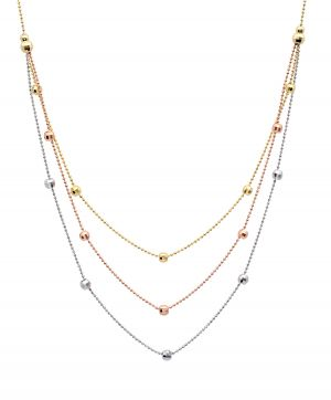 14k Gold Tri-Color Triple Chain Necklace