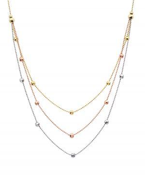 14k Gold Tri-Color Triple Chain Necklace