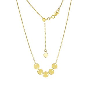 14k Yellow Gold Five Disc Adjustable Choker