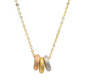 14k Gold Tri-Color Triple Ring Necklace