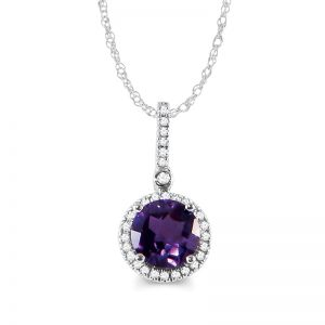 10k White Gold Amethyst and Diamond Halo Necklace