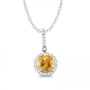 10k White Gold Citrine and Diamond Halo Necklace