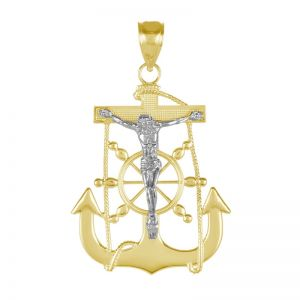 14k Gold Two-Tone Crucifix Anchor