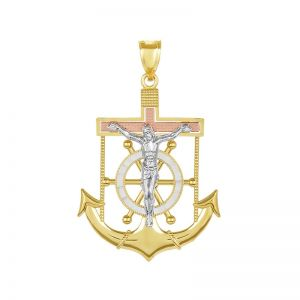 14k Gold Tri-Color Anchor Crucifix Pendant