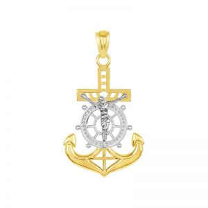 14k Gold Two-Tone 24 mm Anchor Crucifix