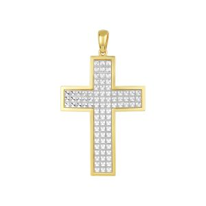 14K Two Tone Gold Diamond Cut Cross