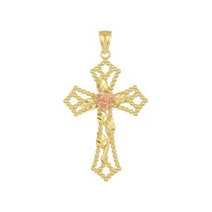 14k Gold Tri-Color Beaded Cross with Rose