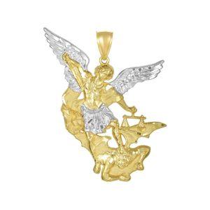 14K Two Tone Gold Saint Michael Medal