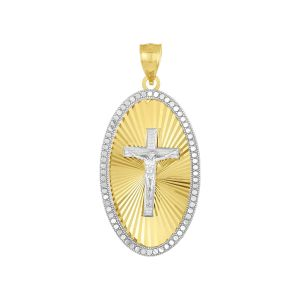 14K Two Tone Gold Oval Crucifix Medal