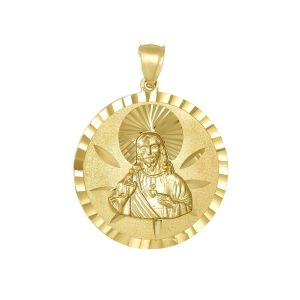 14K Yellow Gold Round Sacred Heart Medal