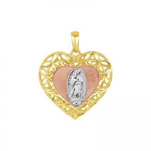 14k Gold Tri-Color Heart Guadalupe Medal