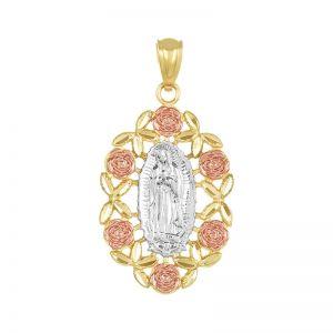 14k Gold Tri-Color Guadalupe Rose Medal
