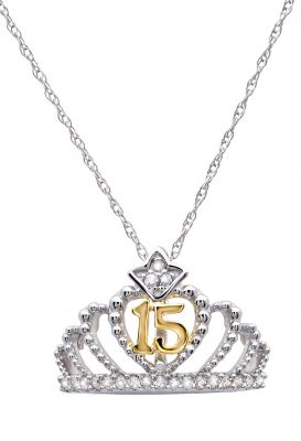 10k White Gold Quinceañera Crown Pendant