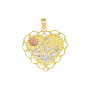 14k Gold Tri-Color Heart-Shaped Love Pendant