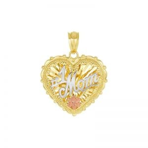 14k Gold Tri-Color Heart-Shaped Double Sided #1 Mom Pendant