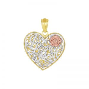 14k Gold Tri-Color Heart-Shaped