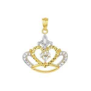 14k Two Tone Gold Diamond Cut Crown Pendant