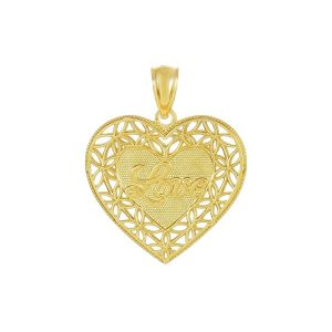 14k Yellow Gold Diamond Cut Heart Pendant