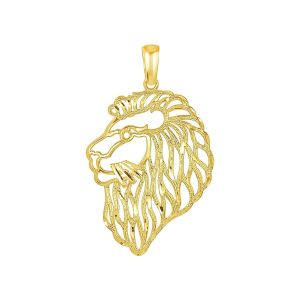 14k Yellow Gold Lion's Head Charm