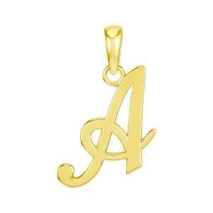"14k Yellow Gold High Polish Letter ""A"" Pendant"