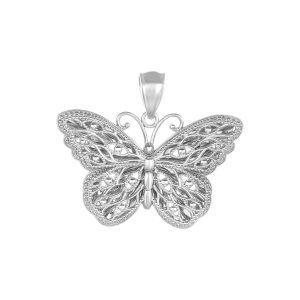 14k White Gold Butterfly Pendant