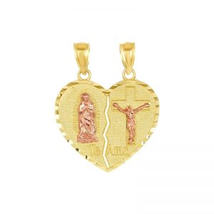 14k Gold Two-Tone Break-Away Guadalupe and Cucifix Heart Pendant