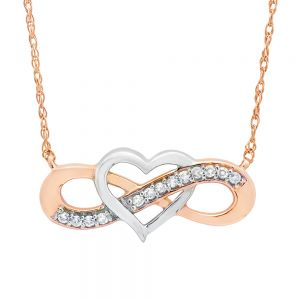 14k Rose Gold Two-Tone Heart Infinity Necklace