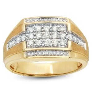 Mens .75 Ct. T.W. Signet Cluster 14k Two-Tone Ring