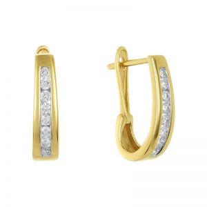 14k Yellow Gold Channel Set Oval Hoop Diamond Earring