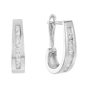 14k White Gold Oval Channel Set Diamond Hoops