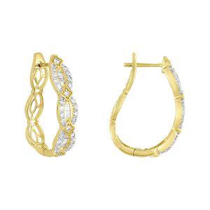 14K Yellow Gold Fancy Diamond Hoops