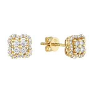 14K Yellow Gold Clover Halo Diamond Studs