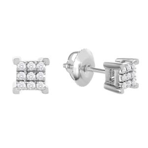 10k White Gold Square Shape Cluster Diamond Studs