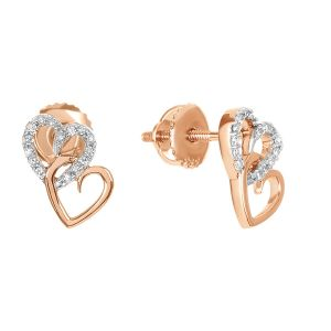 14k Rose Gold Interlocking Heart Earrings