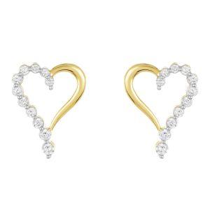 14K Yellow Gold Journey Heart Diamond Studs