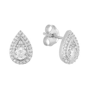 14K White Gold Pear Shaped Halo Diamond Studs