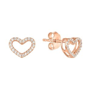 14K Rose Gold Heart Cutout Diamond Studs