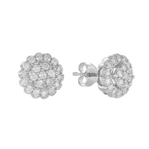 14k White Gold Round Cluster Diamond Studs