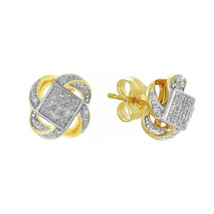14k Two Tone Gold Swirl Cluster Diamond Studs