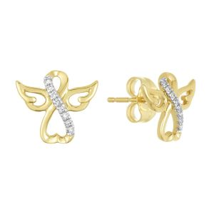 14K YELLOW GOLD ANGEL DIAMOND STUDS