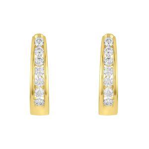 14K YELLOW GOLD OVAL CHANNEL SET DIAMOND HOOPS