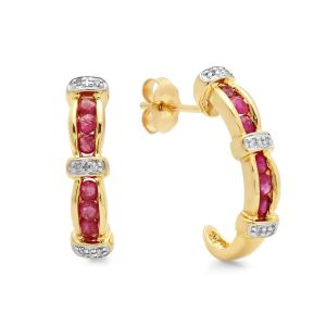 10k Gold Two-Tone Ruby Hoop Earring